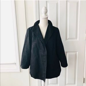 Eileen Fisher Black Shine Ribbed Blazer Car Coat L